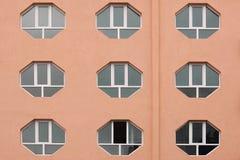Building Facade with  Hexagonal Windows. Stock Photo