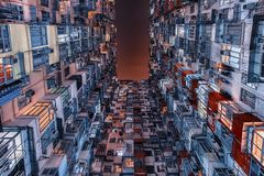 Building facade in hong Kong. Exterior housing architecture  in Hong Kong Royalty Free Stock Images