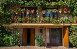 Balconies with flowers Royalty Free Stock Photography