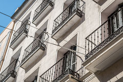 Building facade in Madrid, Spain. On a sunny day Royalty Free Stock Photos