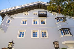 Building facade in medieval town of Kitzbuhel, Austria. Building architecture in the historical center of Kitzbuhel ,medieval  town ,popular ski resort and Stock Image
