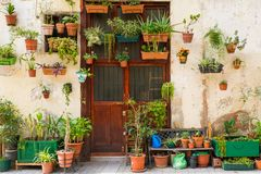 Building facade with pots Stock Image