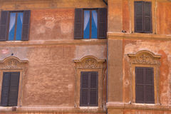 Building facade at Rome, Italy. Typical architecture building facade of Rome, Italy Stock Photo