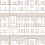 Building facade seamless pattern. City architectural retro blueprint Stock Photos