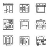 Building facade simple line icons Stock Photo