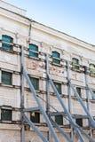 Building facade under renovation stock image