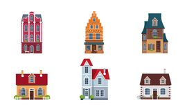 Building facades set, buildings, houses, cottages of different architectural styles vector Illustration. Isolated on a white background vector illustration