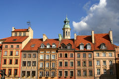 Building facades in Warsaw. Building facades on Rynek square in Old City district in Warsaw stock image