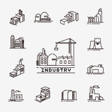 Building factory icons Royalty Free Stock Image