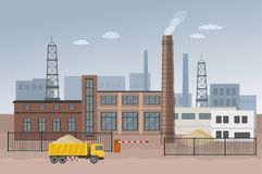 Building factory industry zone. Construction specialized transport and lorry. Flat and Colorfull illustration. Vector graphic Royalty Free Stock Image