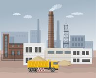 Building factory industry zone. Construction specialized transport and lorry. Flat and Colorfull illustration. Royalty Free Stock Photography