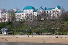 Building of Far East Art Museum and city beach in Khabarovsk Royalty Free Stock Photos