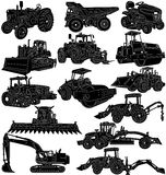 Farm and construction machines and vehicles. A set of illustrations of farm and construction machines and vehicles on white background Royalty Free Stock Photo