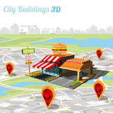 Building of fast food and location on city map Stock Image