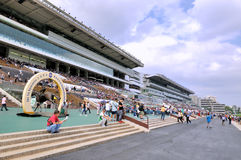 Building and field of Hongkong horse racing club Stock Photography
