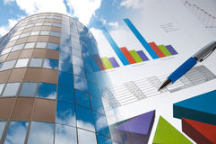 Building and financial chart, business collage. Office building, official papers, business collage Stock Photography