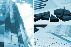 Building and financial chart, business collage. Office building, official papers, business collage Stock Image