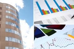 Building and financial chart, business collage. Office building, official papers, business collage Royalty Free Stock Photos