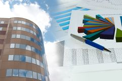 Building and financial chart, business collage Royalty Free Stock Images