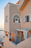 Building in Fira at sunset, Santorini, Greece Royalty Free Stock Images