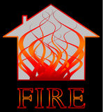 Building fire. A building on fire with flames concept (safety, fire risk, health and safety assessments, insurance, alarms, arson and danger Royalty Free Stock Image