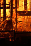 Building on fire. A condo building on fire stock photography