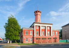 Building of fire department with watchtower, Uglich, Russia Stock Photo