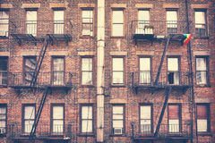 Building with fire escape, one of New York City symbols, USA. Royalty Free Stock Photography