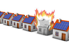 Building Fire. Houses with one with fire house on the white background Royalty Free Stock Photos