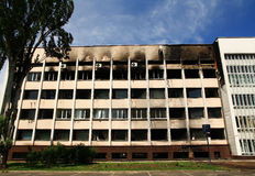 Building after the fire. Royalty Free Stock Image