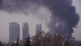 Building on fire with smoke,china. stock video