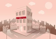 Building of fire station. Set of elements for construction of urban and village landscapes. Vector. Flat illustration Royalty Free Stock Photos