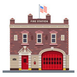 Building of fire station. Set of elements for construction of urban and village landscapes. Vector flat illustration Stock Photography