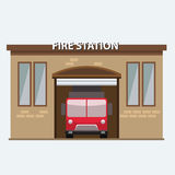 Building of fire station with a truck car in garrage Royalty Free Stock Image