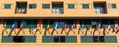 Building with flags Royalty Free Stock Photography