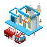 Building in flame isometric. Firefighters at work extinguish fire from hose at red big car burning city vector 3d. Landscape. Illustration firefighter and vector illustration
