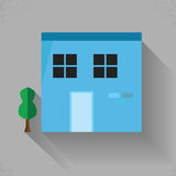 Building Flat Color Stock Photo