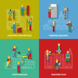Building Flat Decorative Icon Set Stock Images