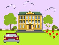 Building in flat design style. Vector illustration. On the picture the mansion, the car, trees and flowers are represented Stock Photo