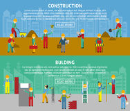 Building Flat Horizontal Banner Set. Building and construction with workers and text flat color horizontal banner set  vector illustration Royalty Free Stock Photos