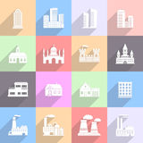 Building Flat Icons Set. Various buildings and factories. 16 flat icons with long shadow. Vector illustration royalty free illustration