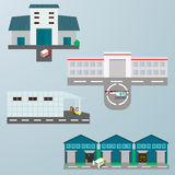 Building flat icons. Warehouse building flat icons set with transportation, helicopter, trucks, forklift vehicles  vector illustration Stock Photos