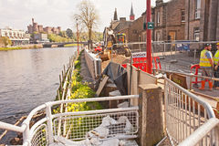 Building flood defences on River Ness Royalty Free Stock Photos