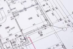Building floor plan. Building floor plan drawing closeup royalty free stock photo