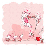 Building of a flower - pink ants. And cherry Royalty Free Stock Images