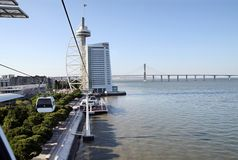Building in the form of sail and Vasco da Gama Bridge over the R Royalty Free Stock Photos