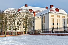 Building of the former Koenigsberg city hall (german Stadthalle). Kaliningrad (until 1946 Koenigsberg), Russia Stock Photography