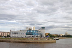 Building of the former River Station in Omsk, now  the cinema 'Babylon' on the rivers Irtysh and Om merge place Royalty Free Stock Image