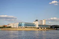 Building of the former River Station in Omsk, now  the cinema 'Babylon' on the rivers Irtysh and Om merge place Stock Photography