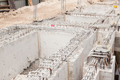 Building foundation at construction site Stock Photography